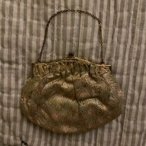 Vintage Gold Tapestry 40s Mini Handbag